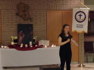 Giving a talk on how I returned to the Catholic Church.